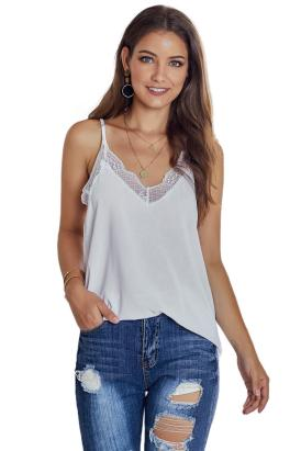 Paloma Women's V Neck Sleeveless Lace Trim Strap Cami Tank Top White