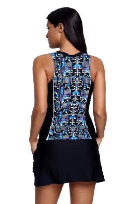 Pascua Women's Fuzzy Print Accent Skirtini Tankini Swimsuit Two-Piece Set