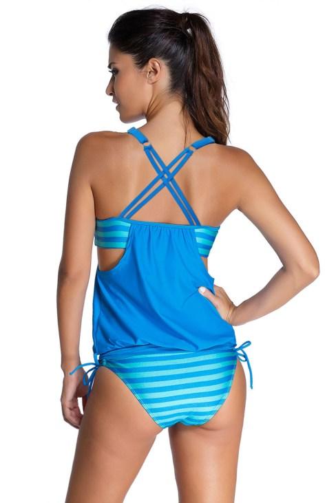 Marigold Women's Layered-Style Striped Tankini Swimwear with Triangular Briefs Grey