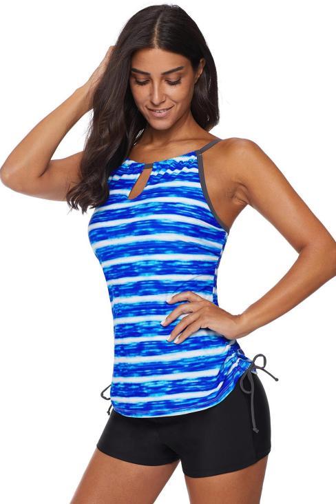 Sundry Womens Red Print Straps Tankini 2pcs Swimsuits Set with Boyshorts