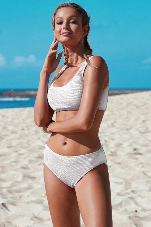 Shea Women's Scoop Neck Crop Top Mid Rise Bottom 2 Piece Bikini Swimsuit White
