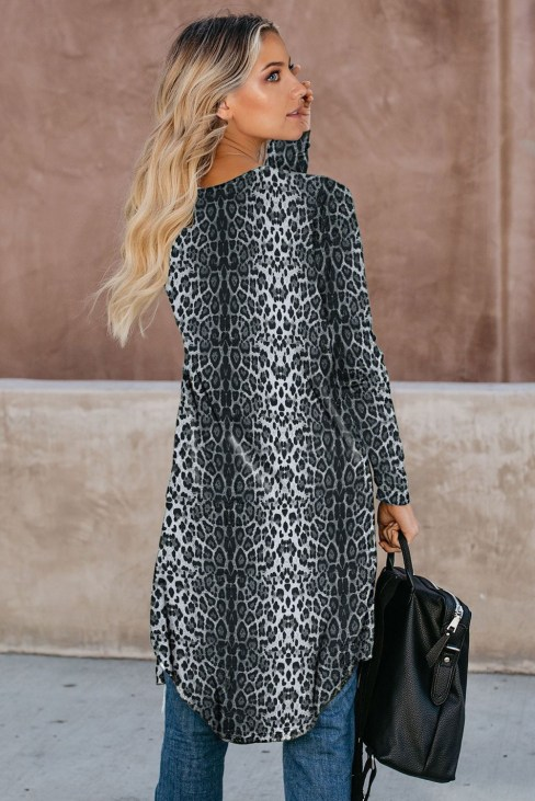 Dolan Womens Black Leopard Print Open Front Casual Cardigans