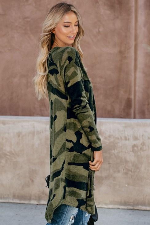 Pippa Womens Green Camo Print Long Sleeve Open Front Knit Long Cardigan
