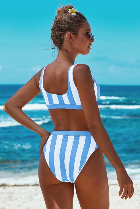 Alia Women's Scoop Neck Athletic Striped Tank High Waist Bikini Sky Blue