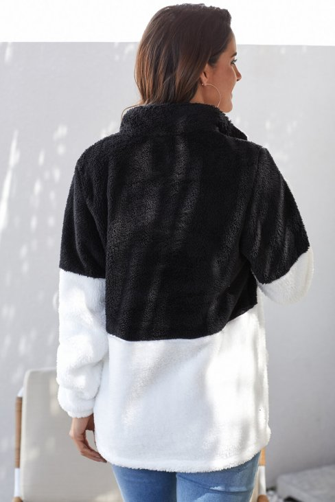 Abiona Womens Oversize Fluffy Fleece Sweatshirt Pullover Black White
