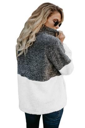 Alba Zip Neck Oversize Fluffy Fleece Pullover Grey White