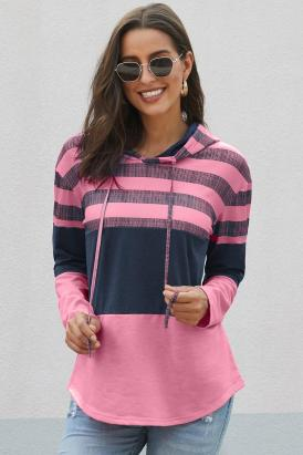 Ashley Womens Color Block Drawstring Hoodie Rose Pink