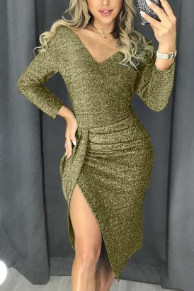 Carolyn Women's Sexy V Neck Sequin Glitter Bodycon Party Dress Green