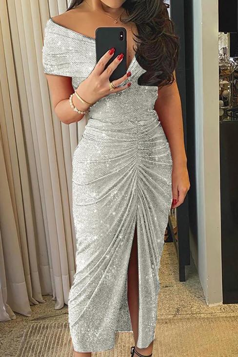 Cassidy Womens Off Shoulder Sequin Party Club Midi Dress Gray