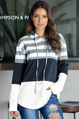 Circe Color Block Drawstring Hoodie White