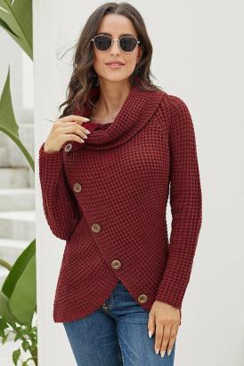 Harley Women's Knit Wrap Asymmetric Hem Sweater Burgundy