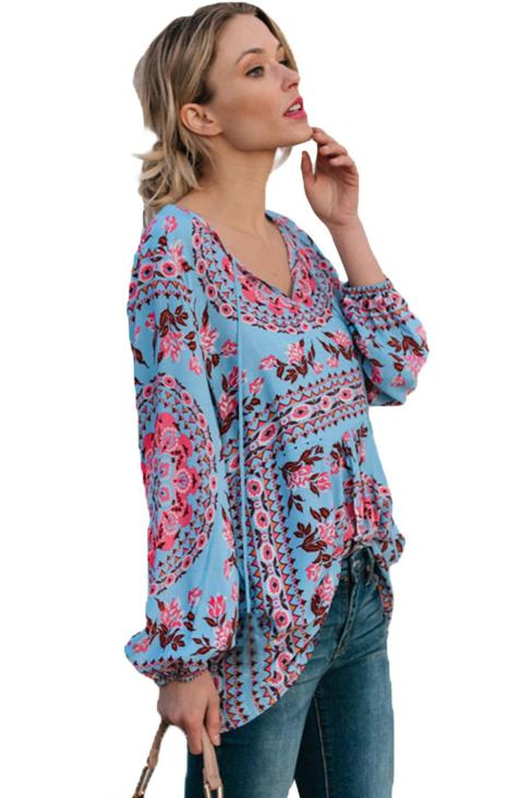 Pilcro Women's Casual Boho Floral Print Blouses Red