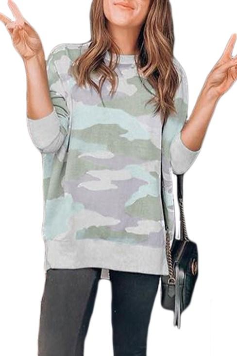 Magda Women's Digital Camo Print Sweatshirt Blue
