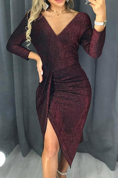 Zoza Ruched Thigh Slit Party Glitter Bodycon Dress Red