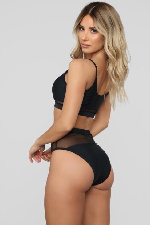 Amber Women's Two-piece Lace Mesh Patchwork Bikini Swimsuit Black