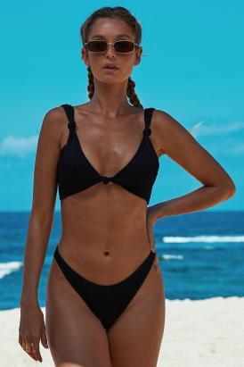 Avery Women's Knotted Two Piece Push up Bikini Swimsuit Black