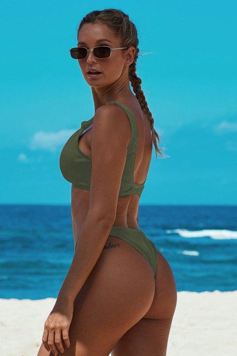 Belen Women's Knotted Two Piece Push up Bikini Bathing Suit Green