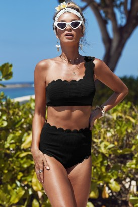 Callaway Womens High Waisted Scalloped Trim One Shoulder Bikini Bathing Suit Black