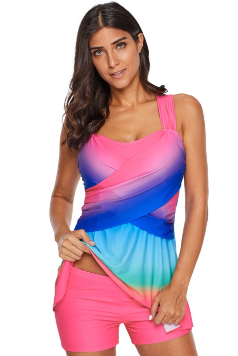Draper Women's Color Block Printed Tankini Swimdress with Boyshort Turquoise