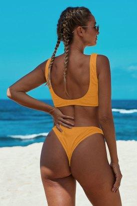 Danni Women's Knotted Two Piece Push up Bikini Bathing Suit Yellow