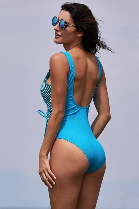 Diyana Women's V Neck Striped One-Piece Swimsuit Sky Blue
