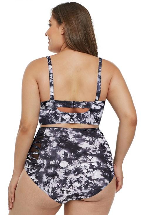 Duffy Women's Print Strappy Push Up Plus Size Bikini Swimsuits White