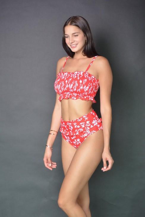 Ezra Women's Floral Print Ruffled Crop Top High Waisted Bikini Swimsuit Set Red