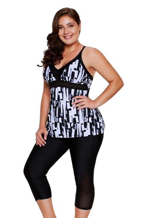 Hermia Women Color Block Striped Tankini Swimsuits with Boyshorts Swimwear