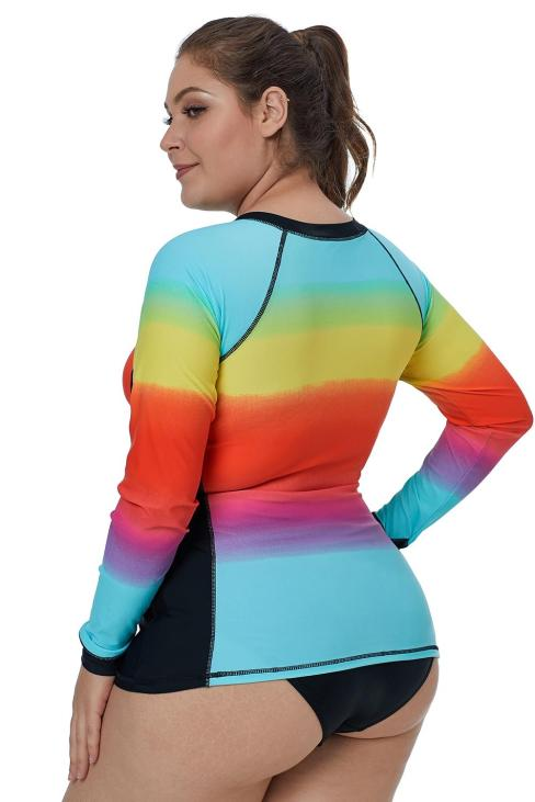 Isadora Women's Zip-Front Multicolor Striped Long Sleeve Tankini Rashguard Top