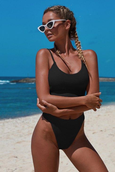 Lailah Women's Straps Two Piece Knit Textured Crop Bikini Swimsuit Black