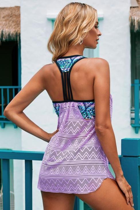 Greta Women's Lace T Back Printed Patchwork Vest Tankini Top Blue