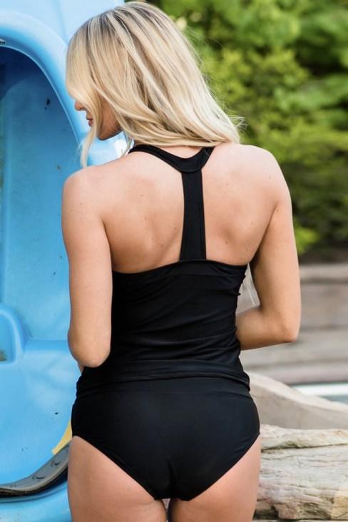Darcy Womens Stripes Halter Neck Sporty Tankini Set Boyshorts Swimsuits White