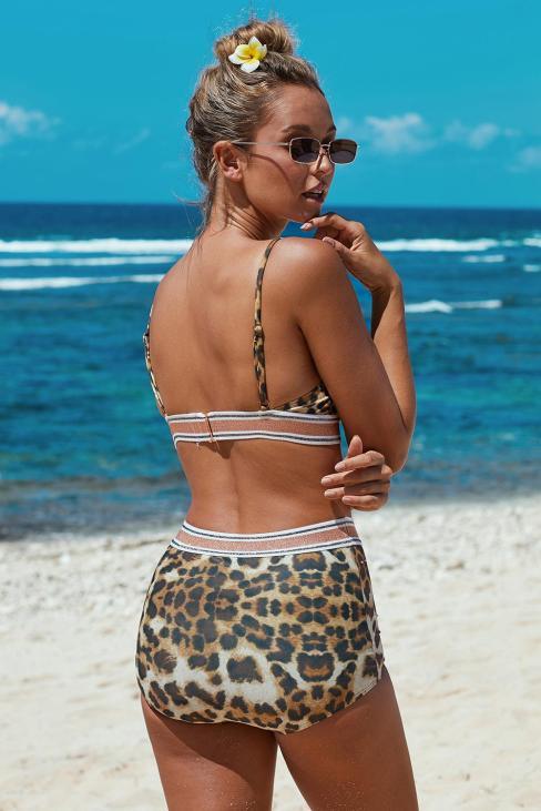 Rochelle Women's Leopard Printed Two-piece High Waist Bikini Swimsuit