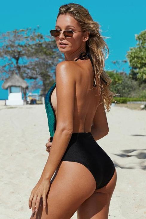 Rosie Women's Deep V Neck Open Back Sequin One-piece Swimsuit Dark Green