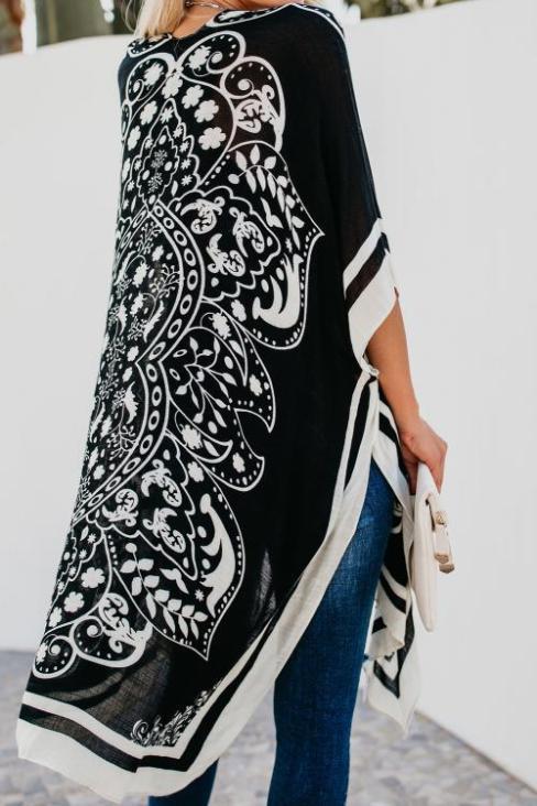 Tori Women's Open Front Medallion Print Kimono White