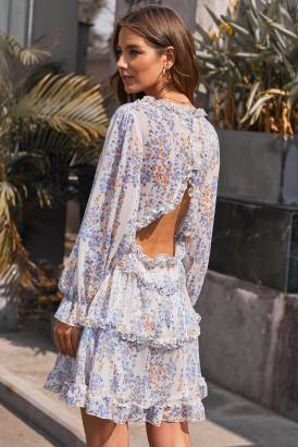 Allaire Women's V Neck Long sleeves Ruffle Open Back Floral Dress White