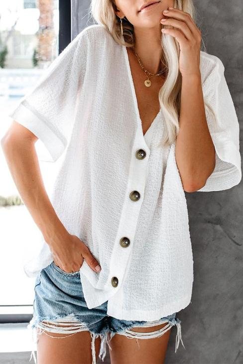 Augustine Women's Button Down Short Sleeve V Neck Casual Loose Blouse Tops White