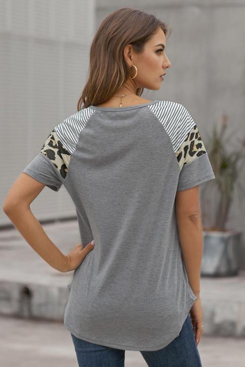 Allaire Women's Short Sleeve Striped Leopard Color Block T Shirt Tops Black
