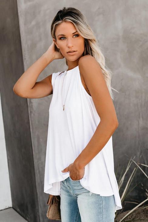 Callie Women's O-Neck Sleeveless Relaxed Tank Top White