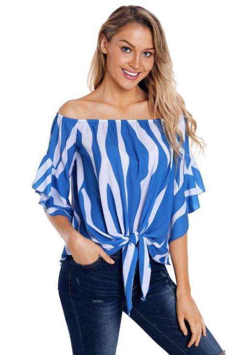 Devin Women's Off The Shoulder 3/4 Bell Sleeve Vertical Stripes Blouse Black