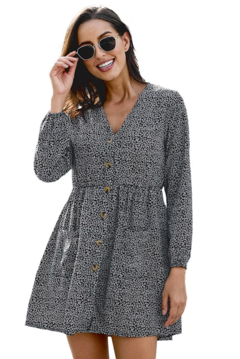 Delton Women's V Neck Printed Buttoned Long Sleeve Shirt Dress Black