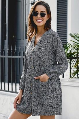 Delton Women's V Neck Printed Buttoned Long Sleeve Shirt Dress Black