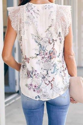 Emilia Women's Lace V-Neck Sleeveless Floral Print Tank Top White