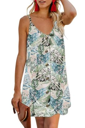 Freya Women's V-Neck Sleeveless Floral Print Straps Buttoned Cami Dress White