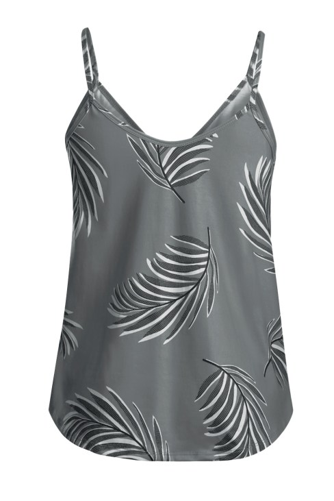 Aidy Women's Floral Print Sleeveless V-Neck Strappy Camisole Tank Top Blue