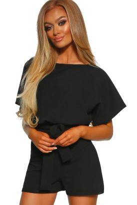 Freya Women's Slash Neck Tie Sash Belted Batwing Sleeve Playsuit Black