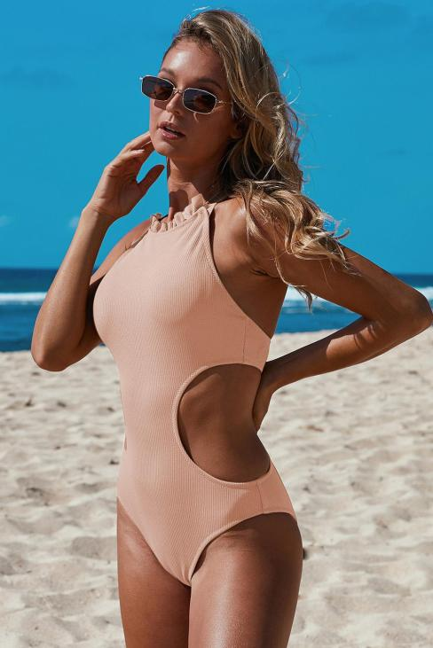 Greta Frilled Neck One-piece Side Cut Out Swimsuit Pink