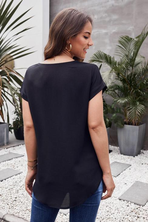 Winona Women's O-Neck Short Sleeve Zip Up Blouse White