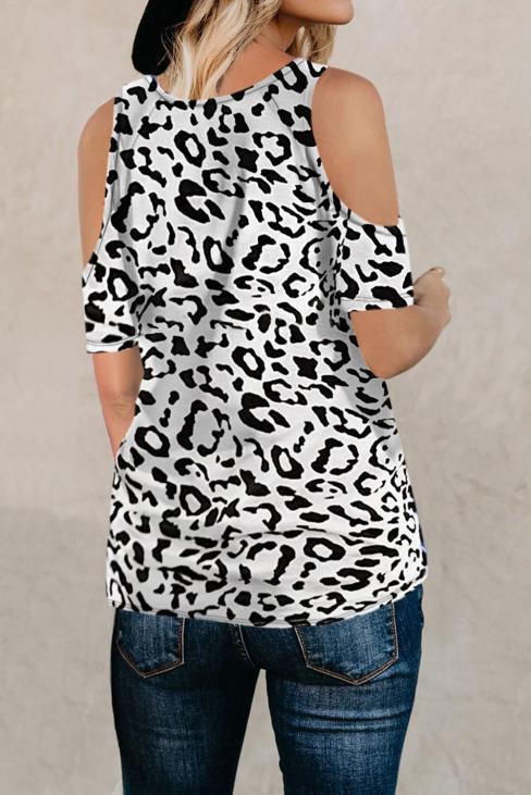 Kelton Women's Leopard Print Short Sleeves Cold Shoulder Top White