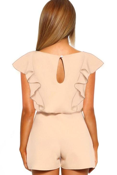 Danielle Women's O Neck Short Sleeve Belted Waist Romper Black